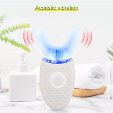 Cepillo de dientes eléctrico de onda ultrasónica, Nano, automático, de silicona, en forma de U, inalámbrico, resistente al agua, con luz azul 31