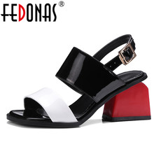 FEDONAS 2020 Elegant Sandals Womens Cut Out Genuine Leather Chunky Square Heel G
