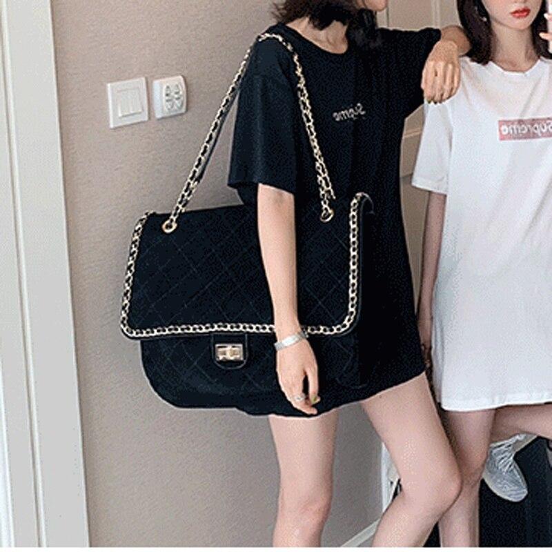 Faux Suede Plus Size Diamond Shape Bag With Metal Chain Handbag Big Size Yellow Color Black Color 2020 Fashion With Button