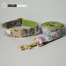 Personalized bow dog collar leash for big small with gold metal buckle tie pet straps accessory