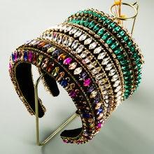 Baroque polychrome crystal headband french style women's