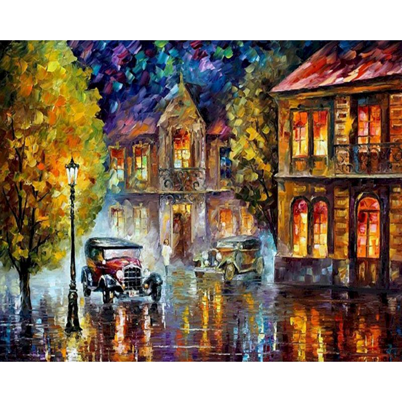 RUOPOTY Painting By Number Night Street View DIY Canvas Painting Picture Oil Painting Coloring By Numbers Hand Painted Wall Art-0