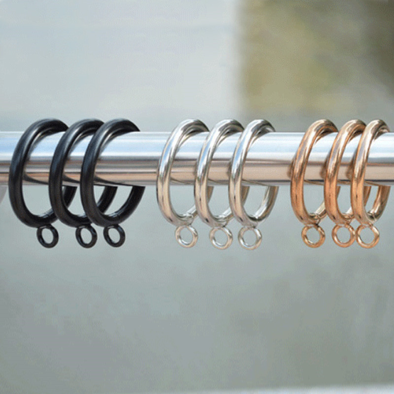 20pcs set 28mm metal curtain hooks curtain hanging ring home decor gold black curtain rod clips tools window accessories