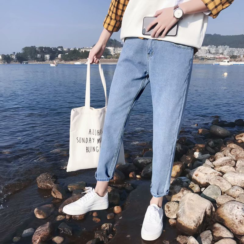 Spring And Autumn Jeans Men's Loose-Fit Hong Kong Style INS Pants Men's Korean-style Trend Spring Solid Color Straight-Cut Cowbo