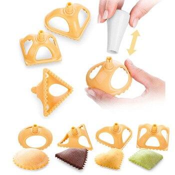 Ev mutfak köfte kalıp bisküvi kalıp İtalyan köfte pişirme aksesuarları yaratıcı üçgen dairesel tutam hamur makinesi