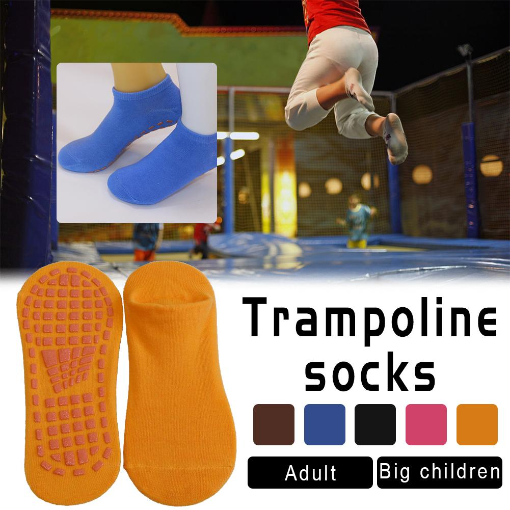 1 Pair Kid/Adult Trampoline Socks Yoga Socks Anti Slip Silicone Gym Pilates Ballet Socks Fitness Sport Socks Cotton Breathable