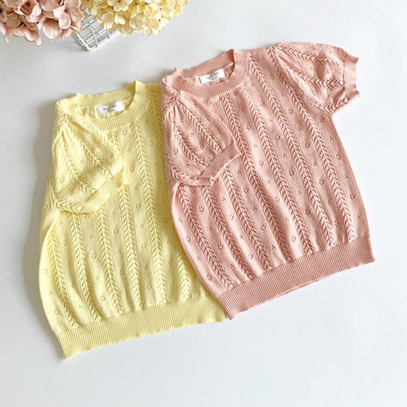 Kids Girls Knit T Shirt Summer Toddler Girl Beautiful Tops Hollow Out Child Girl Knitting Tee BC928