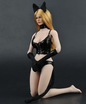 1/6 scale leather Corset with underwear Cat ears clothing set for 12in action figure phicen tbleague accessories toy