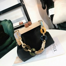Korean Version of The Wood Clip Small Square Bag Net Red Wild Brand Leather Bill of Lading Single Shoulder Messenger Bag Tide real cow leather women bag cross body top handle bag classic casual fashion female bag of bill of lading messenger bag handbags