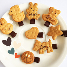 1 Pcs Lovely Harajuku Hairpin Soft Sister Cookie Bear Hairpin Edge Clamp Simulation Cookies Duckbill Clip Children's Hair Tools