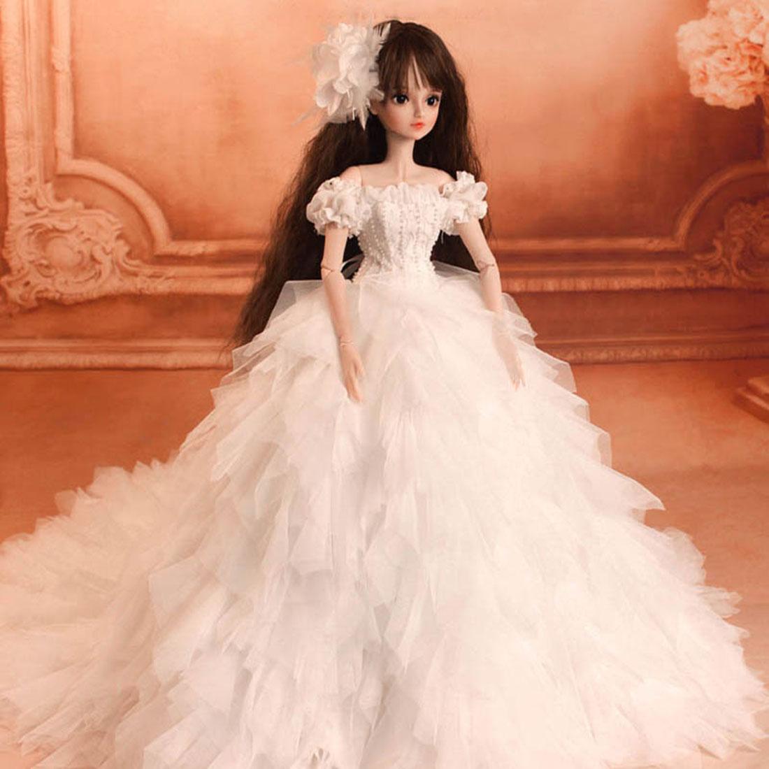 Modikerbjd Women Romantic White Wedding Dress Princess Clothes Set for 1/4 1/3 BJD Dolls - No Doll