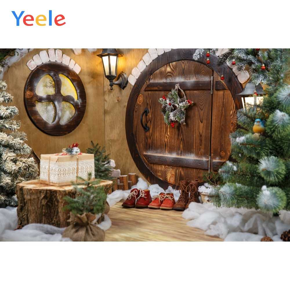 Yeele Christmas Tree Pine Branch Cotton Round Door Baby Interior Photography Backgrounds Photographic Backdrops for Photo Studio