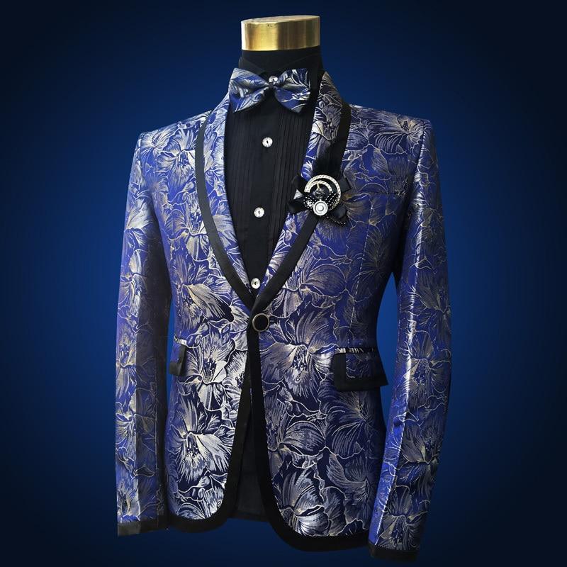 Image 3 - PYJTRL Men Shawl Lapel 3 Piece Set Suit Blue Floral Pattern  Jacquard Wedding Groom Singers Prom Costume Latest Coat Pant  DesignsSuits