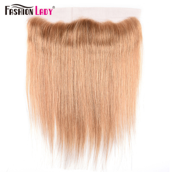 Fashion Lady Pre-Colored Human Hair Lace Frontal Closure 13x4 Straight Lace Frontal Ear To Ear Dark Blonce Frontal 27# Remy Hair