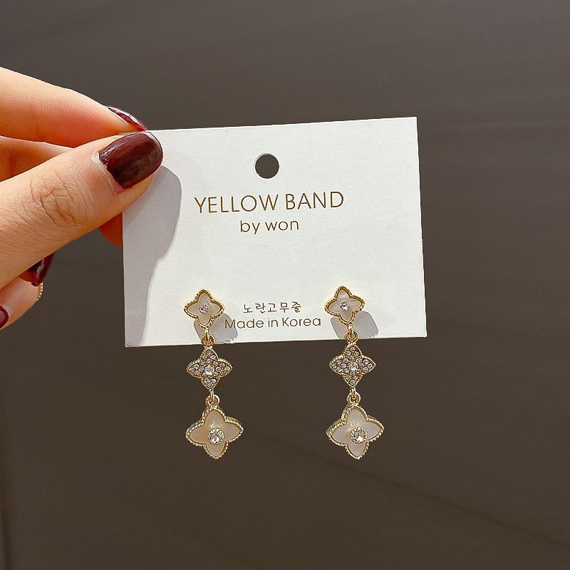 NPKDS Net Red Long Style Personality Simple Flower Tassel Long Style Earrings Female South Korea Needle Earrings