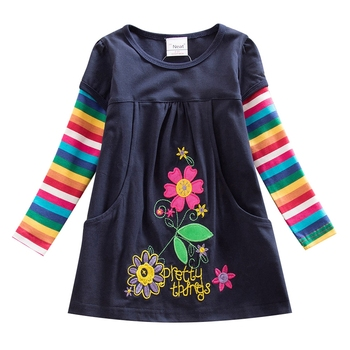 Baby girl dress NEAT brand round neck color striped pockets 100% cotton long sleeve clothes flower dresses H5802