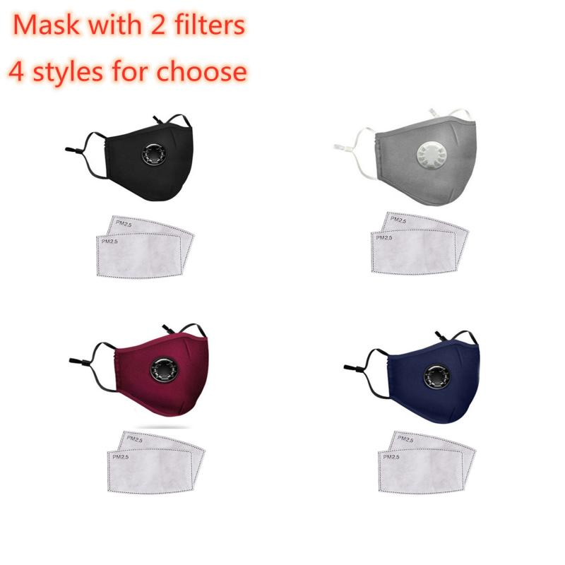 1 Pc Anti-smog Activated Carbon Mask Air Valve Mask Riding Sun Protection Mask Reusable PM2.5 Mouth Mask With 2 Filters In Stock