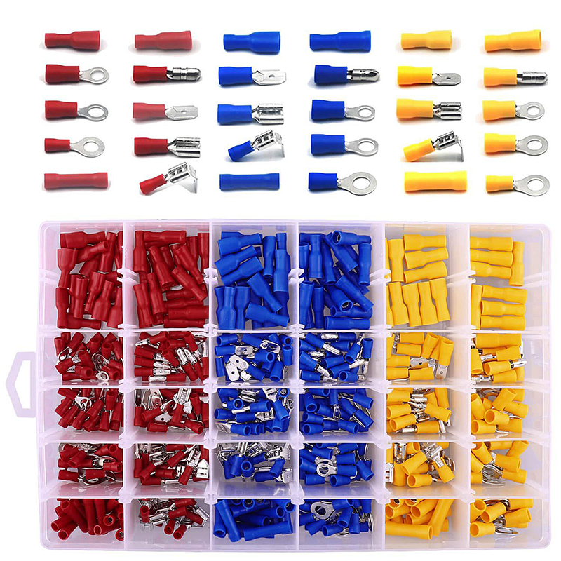 1200 Piece Non-Insulated Crimp Electrical Wire Terminals Assortment Kit Ring Fork Spade Butt Splice Connectors /& Male Female Quick Disconnect