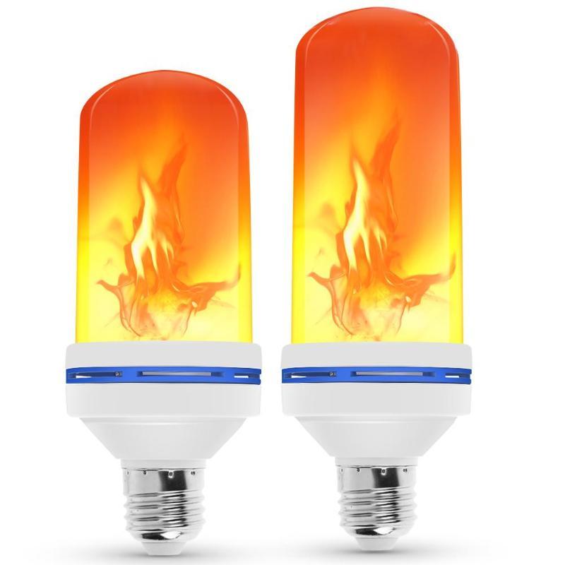 E27 LED Dynamic Flame Effect Corn Bulb 3 Modes AC 85-265V Flickering Emulation Gravity Decor Lamp Creative Fire Lights