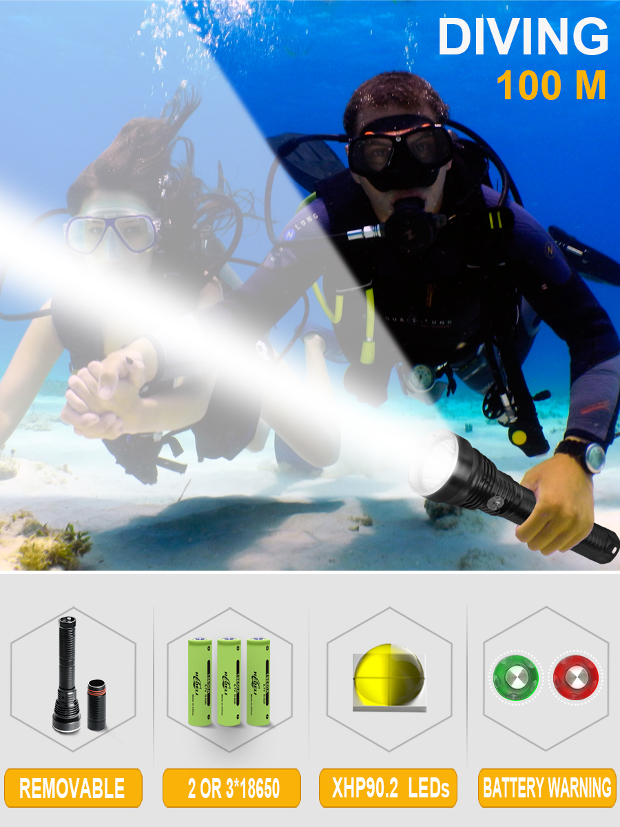 Xhp90.2 Powerful Led Underwater Flash Light Hand Lamp Waterproof Flashlight 26650 Or18650 Diving Torch Xhp70 Xm L2 Hunting Scuba