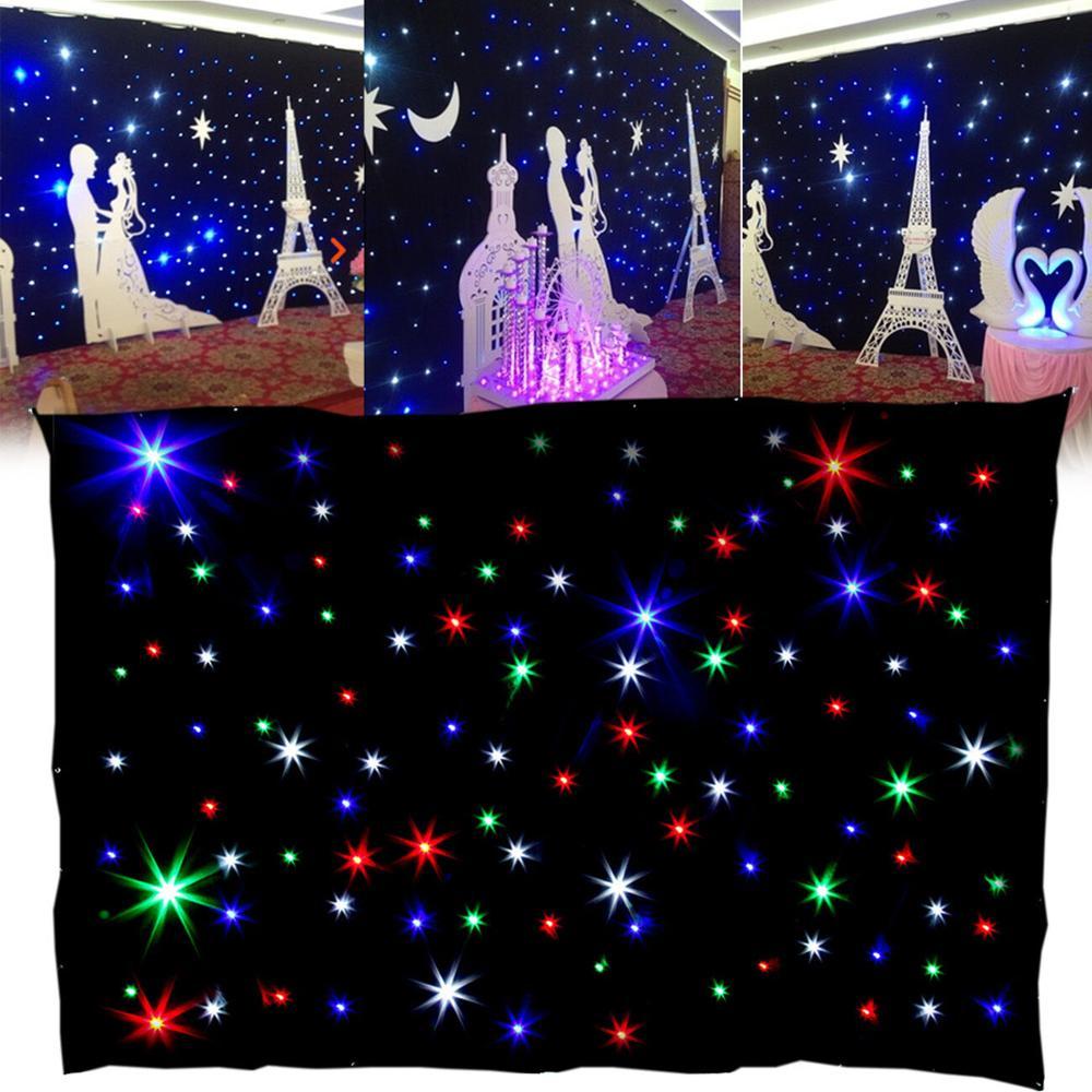 2 X 3m RBG Light LED Matrix Star Backdrop Curtain DMX 8CH DJ Disco Stage Party