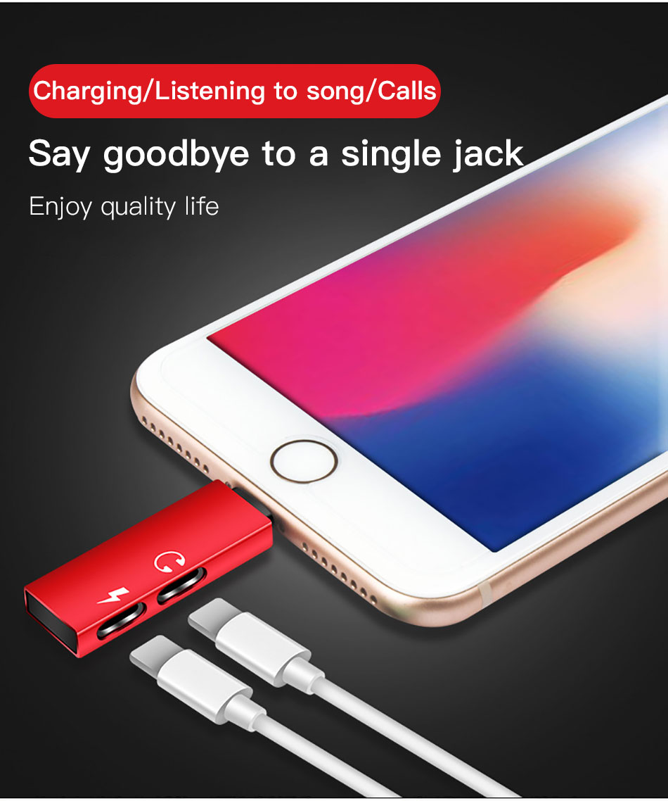 !ACCEZZ 2 in 1 Charging Call Adapter For iphone X 8 7 Plus XS MAX XR IOS 11 12 Dual Lighting Jack to Earphone Support Microphone (2)