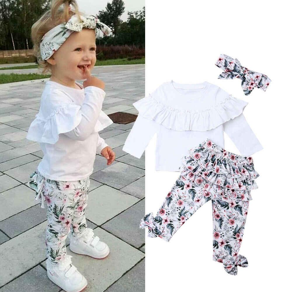 3PCS Toddler Kids Baby Girls Floral Tops+Flared Pants Long Trousers Outfits Sets
