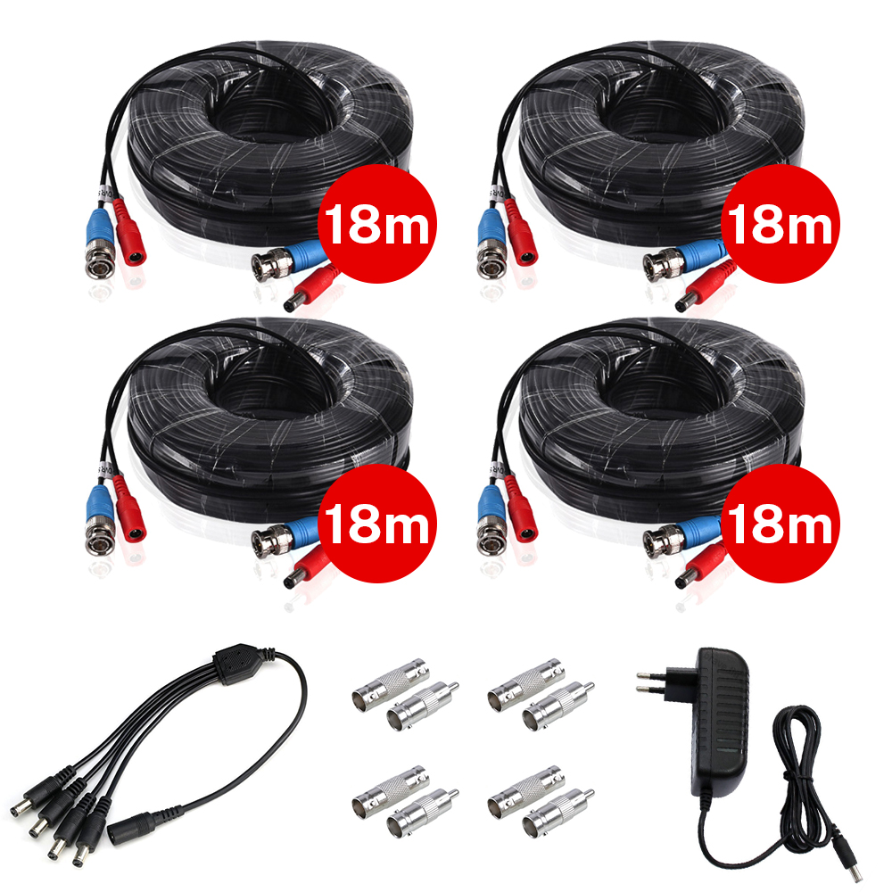 4PCS 18m60ft CCTV Cable BNC & DC Plug Video Power Cable With DC 12V For 4 Wired AHD Camera Video Surveillance System Accessories