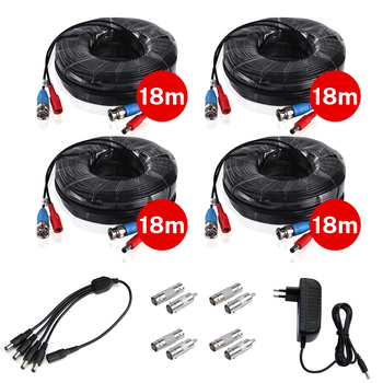 4PCS 18m60ft CCTV Cable BNC & DC Plug Video Power with 12V for 4 wired AHD camera Surveillance System Accessories - discount item  49% OFF Transmission & Cables