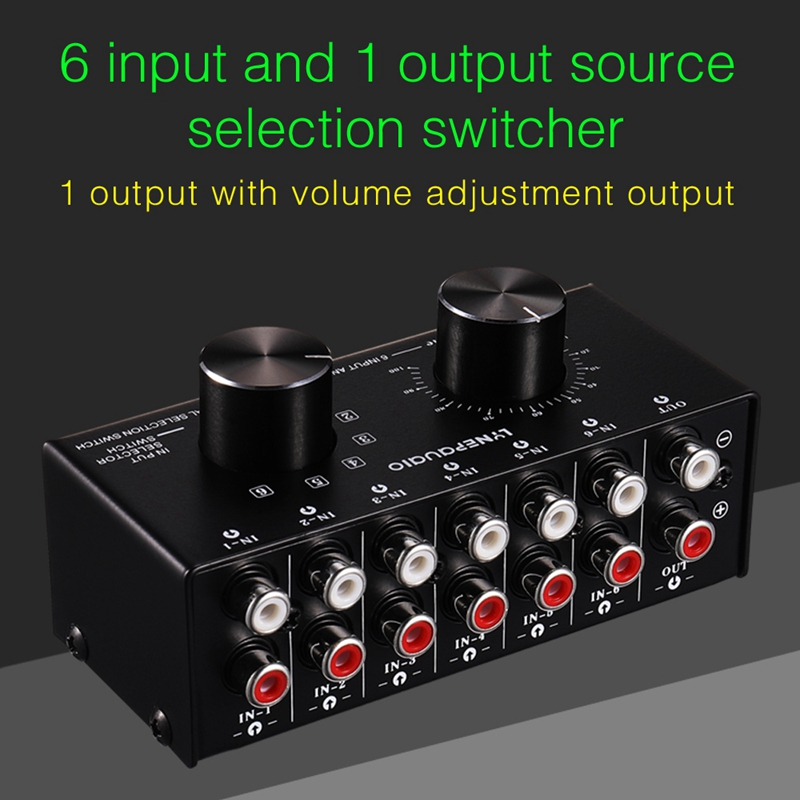 6 Input 1 Output Switcher Audio Source Selection Switcher RCA Audio Input Signal Selector Switch With Volume Adjustment And Manu