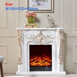 Декоративный камин набор деревянный Мантел W100cm электрический камин firebox вставить горелку комнаты теплее СИД оптическое пламя deocration