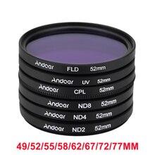 Andoer 52 мм UV+ CPL+ FLD+ ND( ND2 ND4 ND8) фотография фильтр Kit комплект поляризуя нейтральной плотности для Nikon канона сони Pentax DSLRs