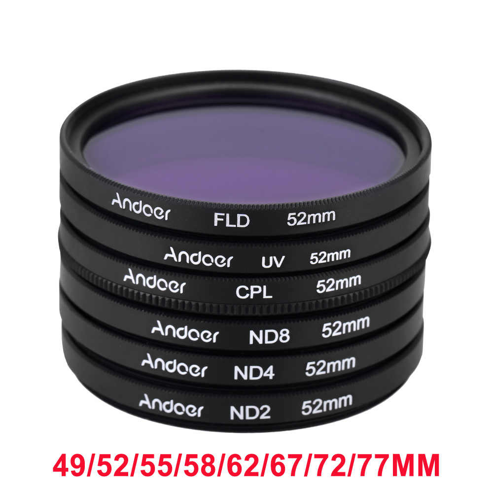 Andoer UV + CPL + FLD + ND (ND2 ND4 ND8) 写真フィルターキットセット用デジタル一眼レフカメラ 52 ミリメートル/49/55/58 ミリメートル/ 62/67/72/77 ミリメートル