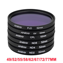 Andoer UV+CPL+FLD+ND(ND2 ND4 ND8) Photography Filter Kit Set for Nikon Canon Sony Pentax DSLRs 52mm/49/55/58mm/62/67/72/77mm(China)