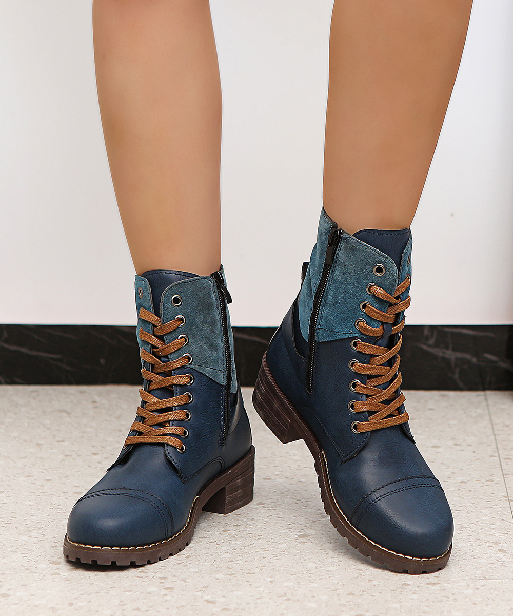 British Style Fashion Zipper Flat Shoes Woman Boot High Heel Platform PU Leather Boots Lace Up Women Shoes Botas Mujer Girls 3