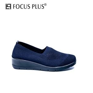 Focusplus 2020 Autumn Women Flats Sneakers Shoes Platform Shoes Mesh Breathable Shoes Outdoor Casual Flat Shoes D105