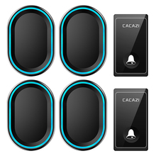 CACAZI Self powered Wireless Doorbell No Battery Required 2 Button 4 Receiver US EU UK Plug LED Smart House Ringbell 220V Chime cacazi self powered wireless doorbell no battery us eu uk au plug 2 button 5 receiver smart home chime doorbell ring bell 220v