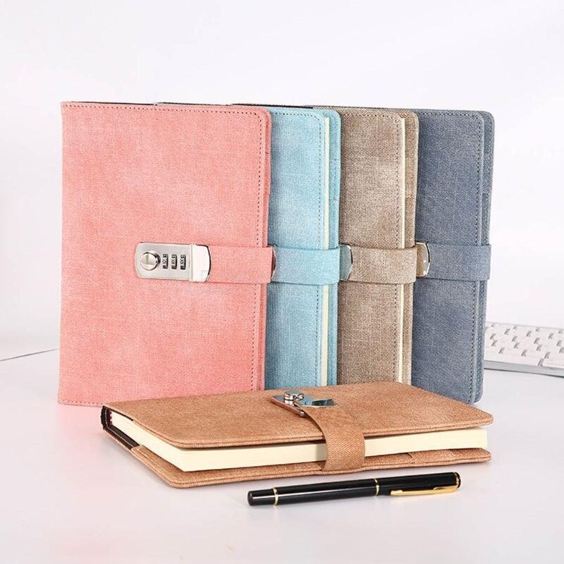 Carnet de notes A5 avec verrou de mot de passe en cuir, carnet de notes pour Agenda, planificateur de semaine, école