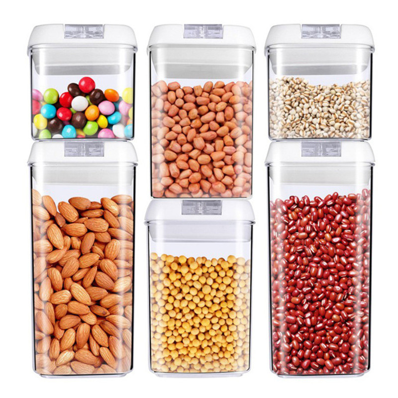 Easy Buckle Food Storage Container Plastic Kitchen Storage Box Multi Grain Storage Tank Transparent Sealed Cans Multi Capacity