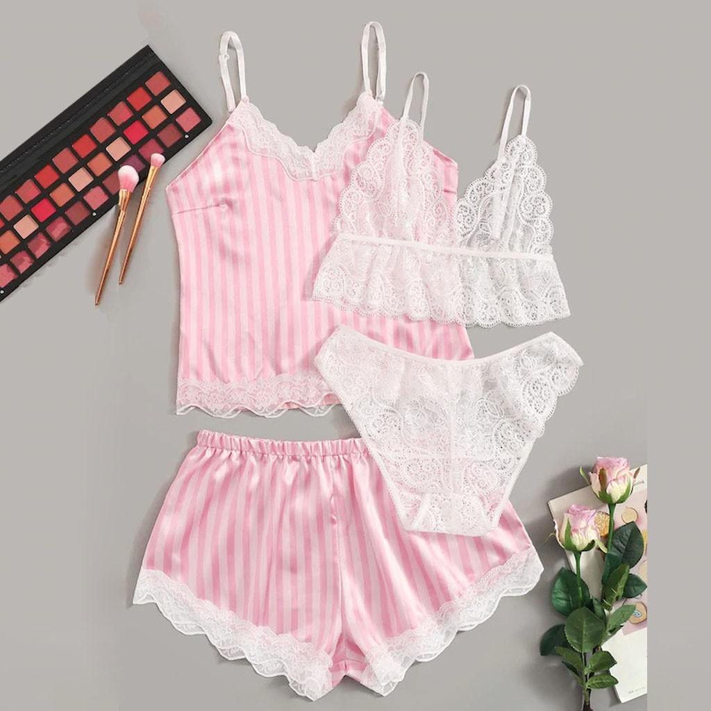 4Pcs Sleepwear Set Women Lace Nightwear Pajama Robe Set Satin Wireless Bra Camisole Pajamas Sleepwear Bowknot Shorts Set Femme*X