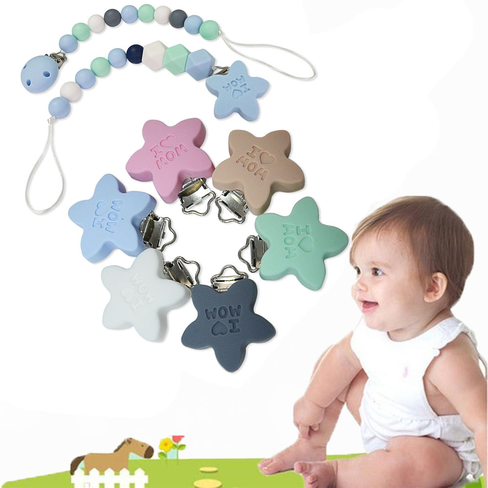 Pentagram Shape Silicone Nipple Clip Hardware Duckbill Clip Wood Clip DIY Baby Pacifier Food Grade Baby Pacifier Clips