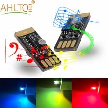 1X samochód USB LED DC 5V odtwarzanie muzyki możliwość przyciemniania światła dekoracyjny budujący atmosferę lampa przenośna Plug and Play RGB aktywowana głosem