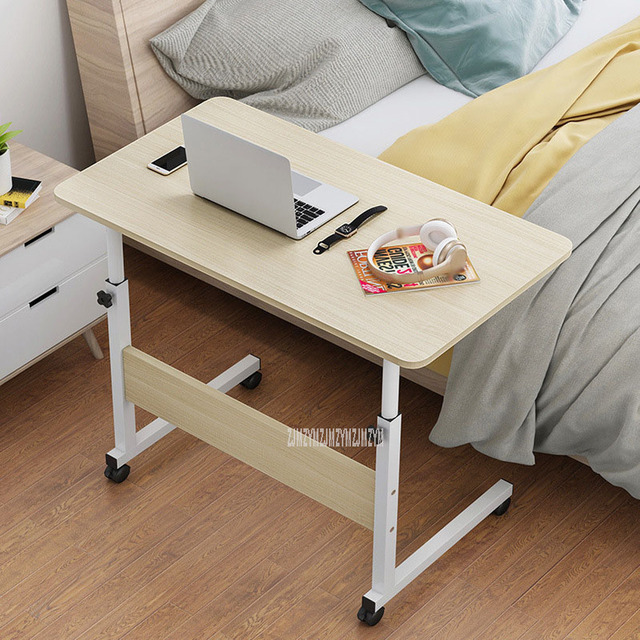 New Bedside Lifting Computer Laptop Table Movable Height Adjustable Wood+Steel Frame Modern Simple Laptop Table Stand Desk 5
