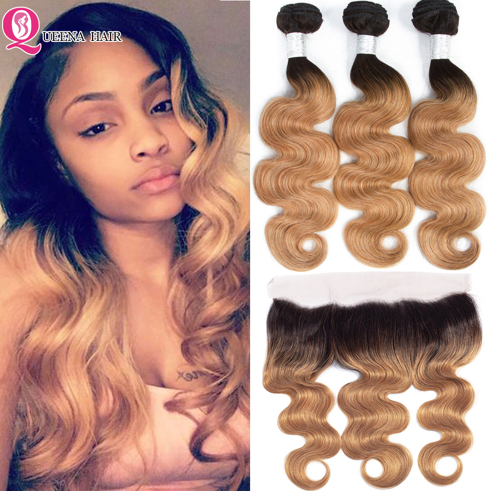 Queena 1B 27 Ombre Bundles With Frontal Closure Malaysian Hair Body Wave Bundles With Frontal Honey Blonde Bundles With Frontal