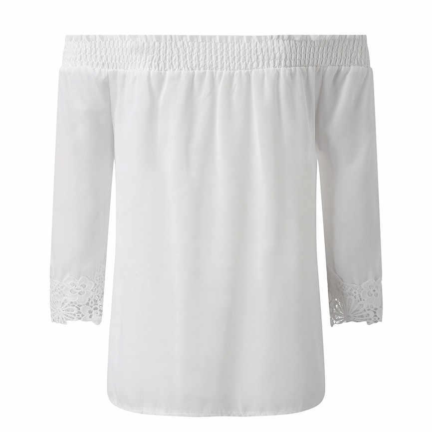 Blusas موهير دي مودا 2019 النساء عارضة الدانتيل بلوزة واحدة الكتف كم طويل فضفاض أعلى قميص قمزة سيدة قميص أعلى