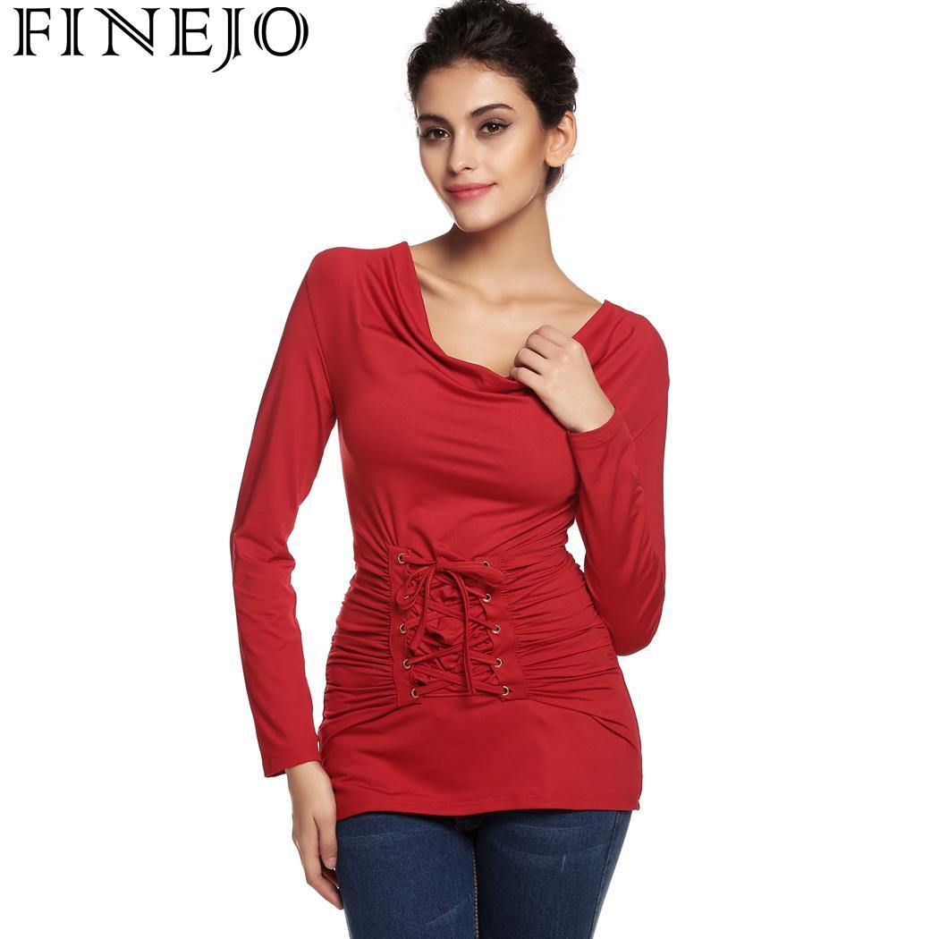 Cut Out Shoulder Shirt Tops Blouse for Women V Neck Long Sleeve Pleated Slim Bodycon