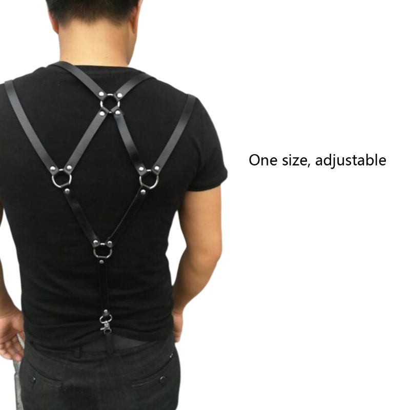 Men Sexy Harajuku Faux Leather Body Chest Harness Suspenders Punk Shoulder Strap XX9D