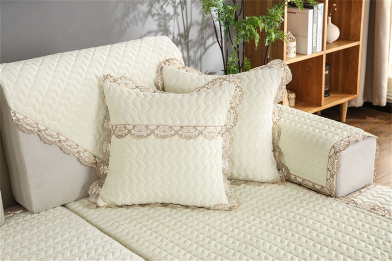Thick Slip Resistant Couch Cover for Corner Sofa Made with Plush Fabric Including Lace for Living Room Decor 72