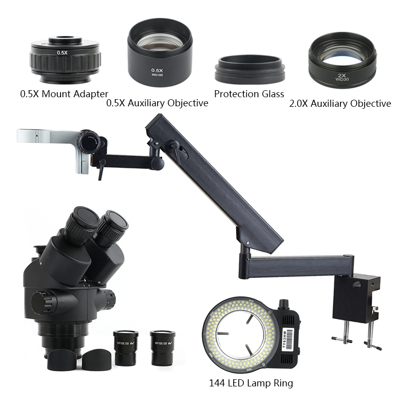 3.5-90X Simul Focal Trinocular Stereo Zoom Microscope 144 LED Light  Multifunction Articulating Arm Pillar For Lab Repair