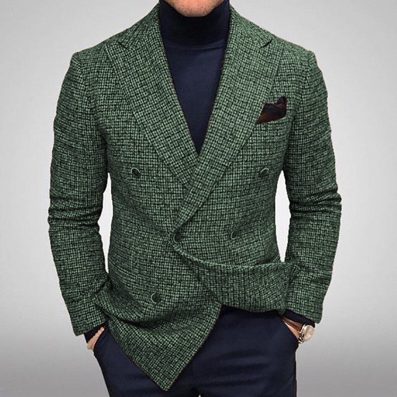Mens Fashion Double Breasted Mens Suit Slim Fit Blazer Tuxedos For Wedding Groommen   Only One Jacket